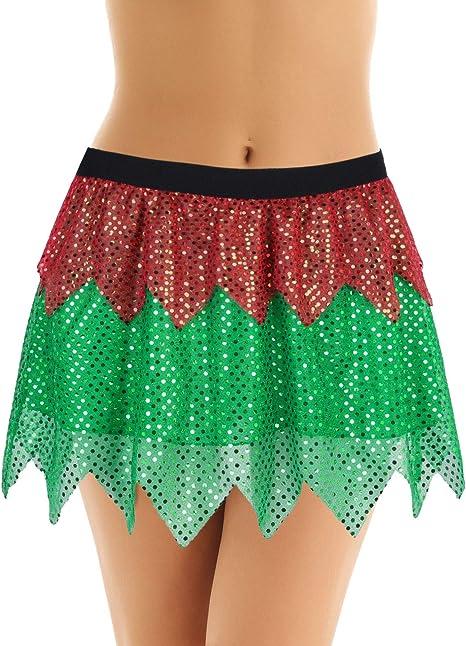 MSemis Falda Navideña para Mujer Mini Falda de Hada Verde Disfraz ...