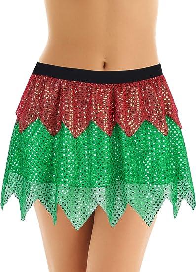 inhzoy Falda de Elfo Navidad para Mujer Disfraz de Duende Cosplay ...