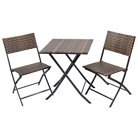 Flamaker Rattan Patio Bistro Set, 3 Pieces PE Wicker Patio Furniture Set Outdoor Furniture Folding Bar Set Conversation Set Portable Chairs and Table Brown Set