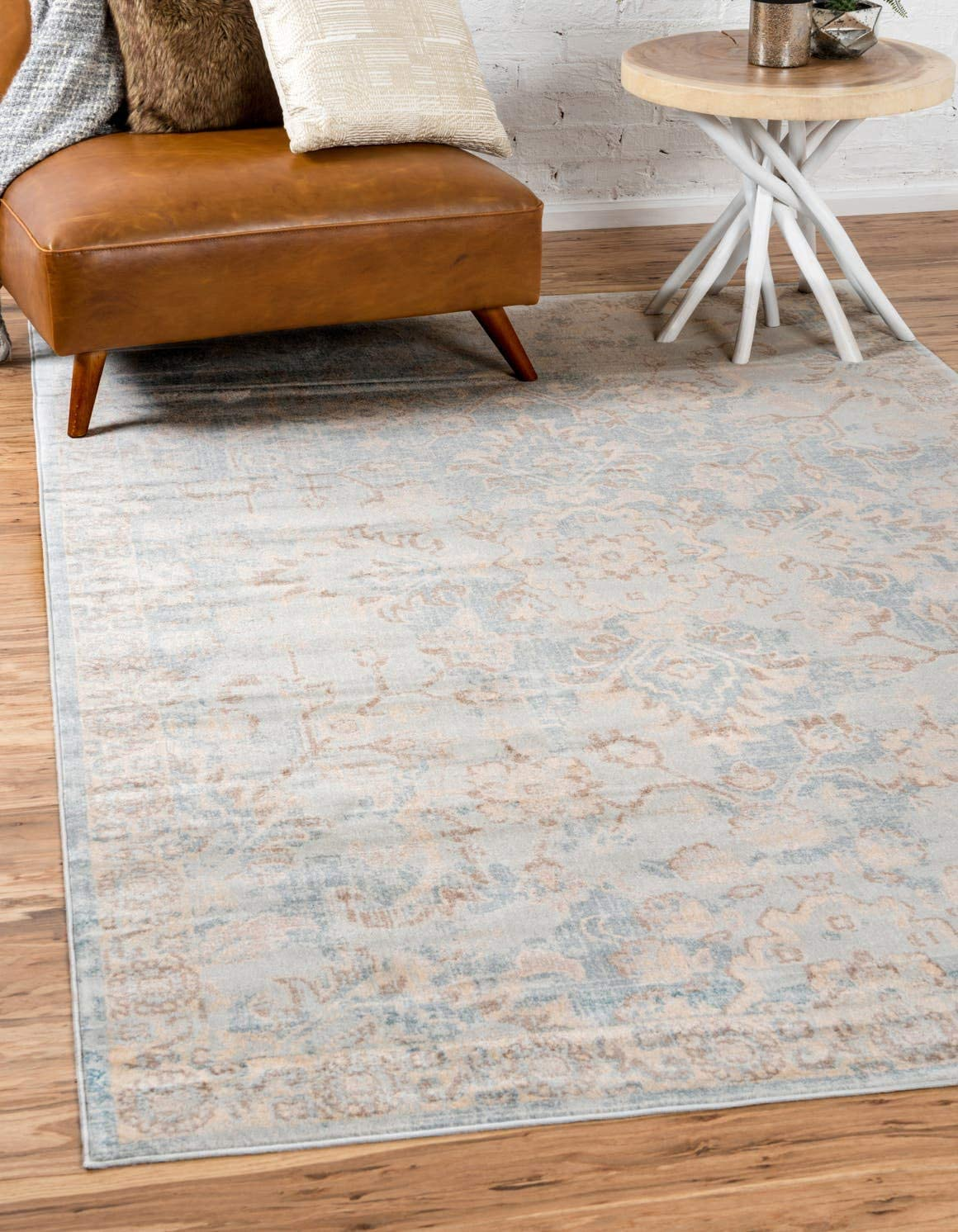 Unique Loom Paris Collection Pastel Tones Traditional Distressed Light Blue Area Rug 9 0 x 12 0