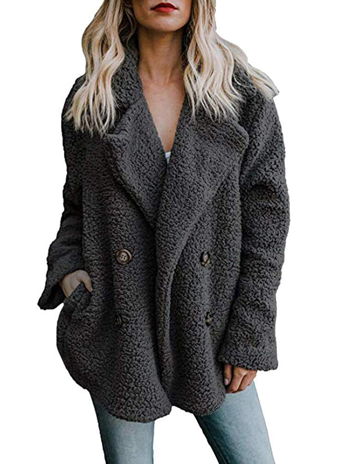 ETAOLINE Womens Winter Teddy Bear Coat Lapel Open Front Long Sleeve Fluffy Fleece Jacket Cardigan Outwear with Pockets