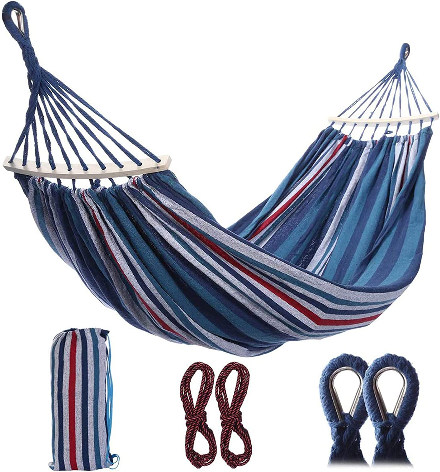 "HD-IPC Double Camping Hammock, Portable 2-Person Brazilian Style Hammock Outdoor/Indoor Canvas Cotton Hammock Bed with Carry Bag (98"" x 59"")"