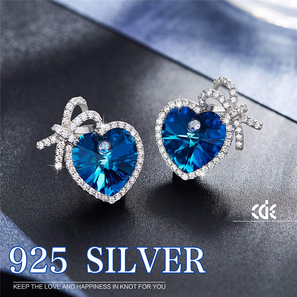 MINI LIFE Handcrafted 925 Silver Drop Dangle Earrings Created with Swarovski Crystals Gift Packing