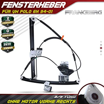 Frankberg Window Regulator Electric Without Motor Front Right for Lupo 6X1 6E1 2//3-Door 1998-2005 6X0959802B