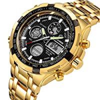 Luxury Fashion Mens Watches Stainless Steel Heavy Sport Chronograph Waterproof Date Alarm Multifunction Analog Digital Watch