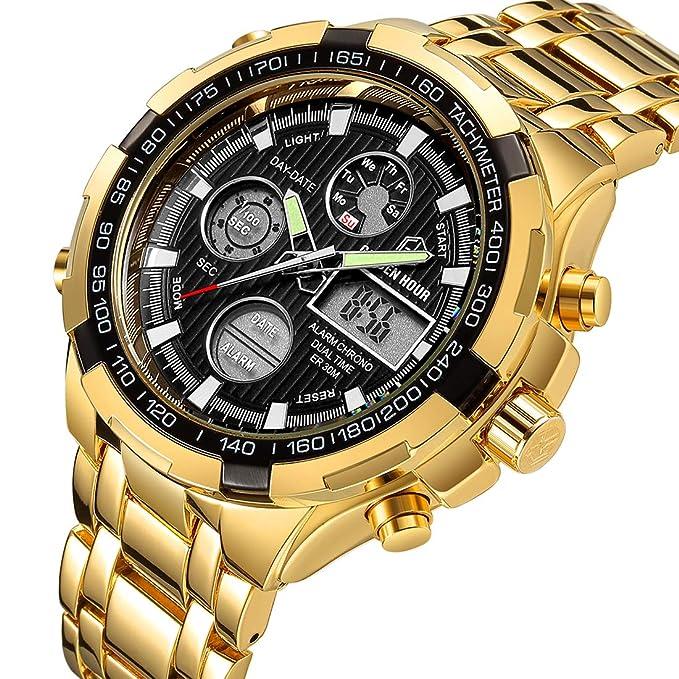 Reloj digital y analógico deportivo de acero inoxidable dorado, con cronógrafo, fecha y alarma, multifunción, resistente al agua, moderno y lujoso, ...