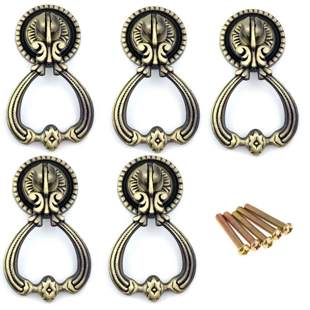 FirstDecor 5PCS Antique Brass Furniture Handles Vintage Cabinet Knobs and Handles Door Closet Cabinet Drawer Pull Handle for Kitchen