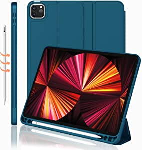 iMieet New iPad Pro 11 Inch Case 2021(3rd Gen) with Pencil Holder [Support iPad 2nd Pencil Charging/Pair],Trifold Stand Smart Case with Soft TPU Back,Auto Wake/Sleep(Teal)