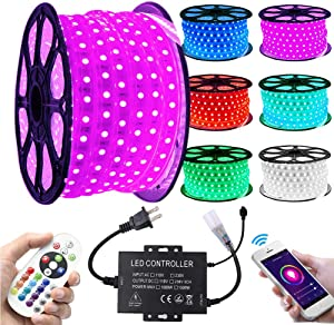 XUNATA LED Strip Lights, Wifi 110-130V RGB Dimmable Waterproof 5050 60 LED/m Light Strip with 1500W Controller, Work with Alexa, Google Home, iOS & Android Music Time Control System(66ft/20m)