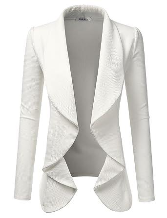 e8ab47b99bd4f Doublju Classic Draped Open Front Blazer for Women with Plus Size Ivory 2X