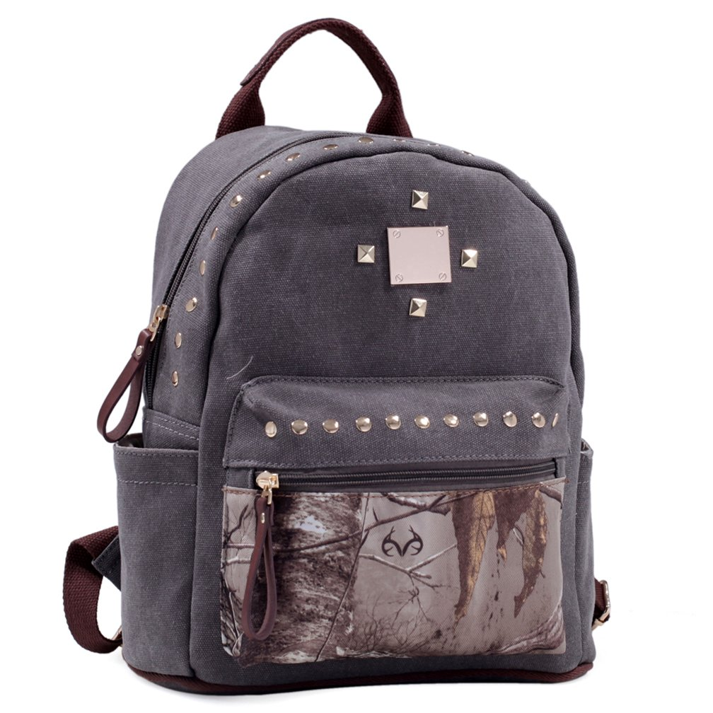 Dasein in Realtree Studded Canvas Zip Around Camouflage Backpack Purse - XG Camouflage/Grey