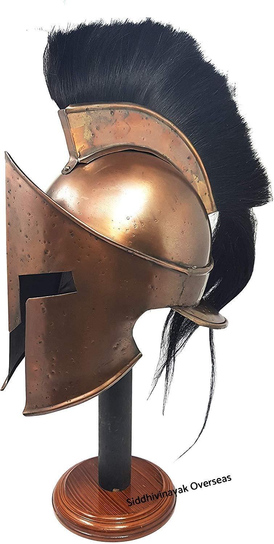Medieval 300 King Leonidas Spartan Helmet Black Plume Copper Finish by Siddhivinayak overseas (Image #2)