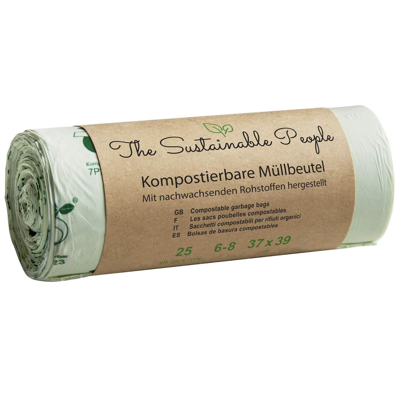 Bolsas de basura orgánicas TSP de 6-8 litros, 150 bolsas de basura seguras y resistentes a la rotura, certificado compost OK Home, 100 % compostables en el ...