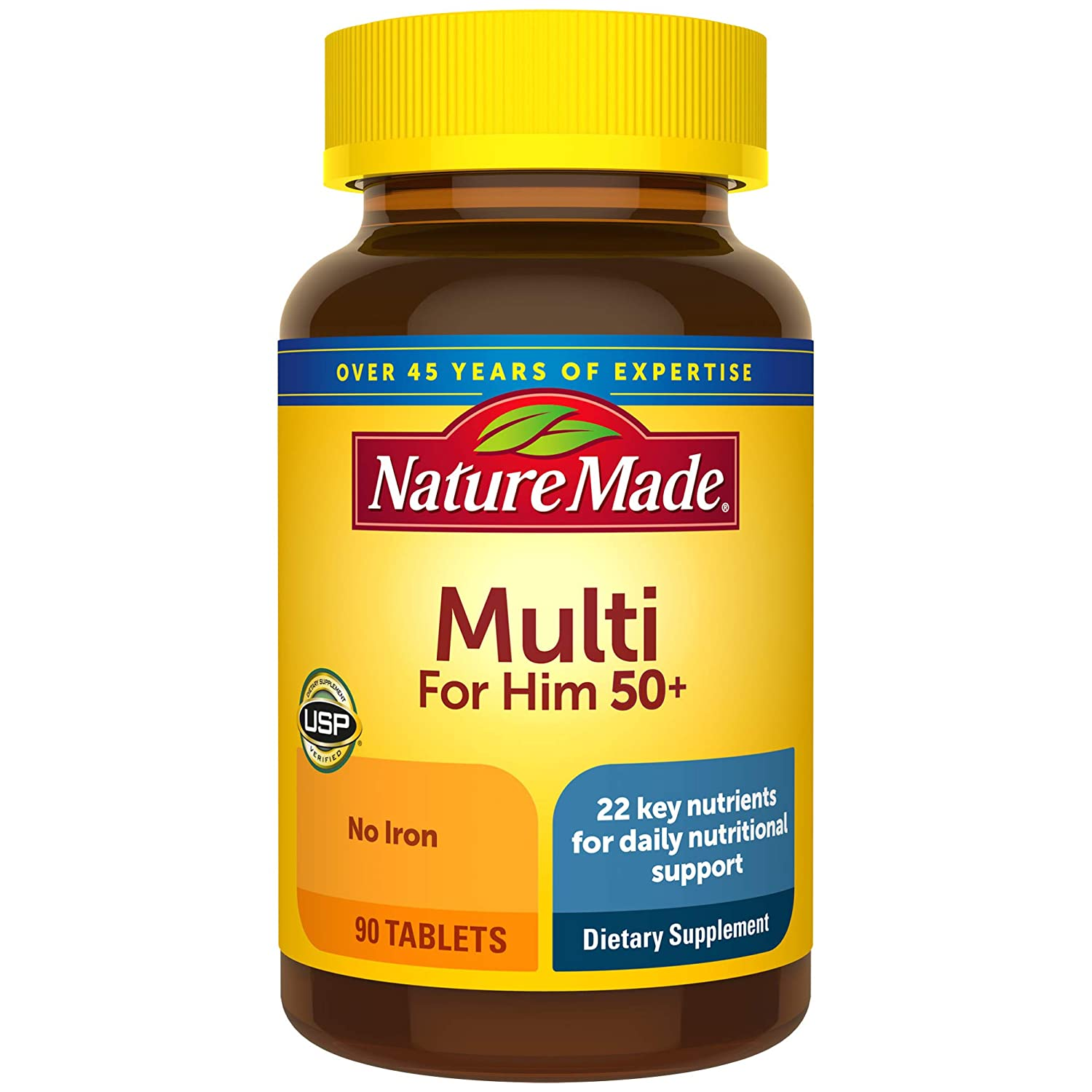 Nature Made Men's Multivitamin 50+ Tablets, 90 Count for Daily Nutritional Support