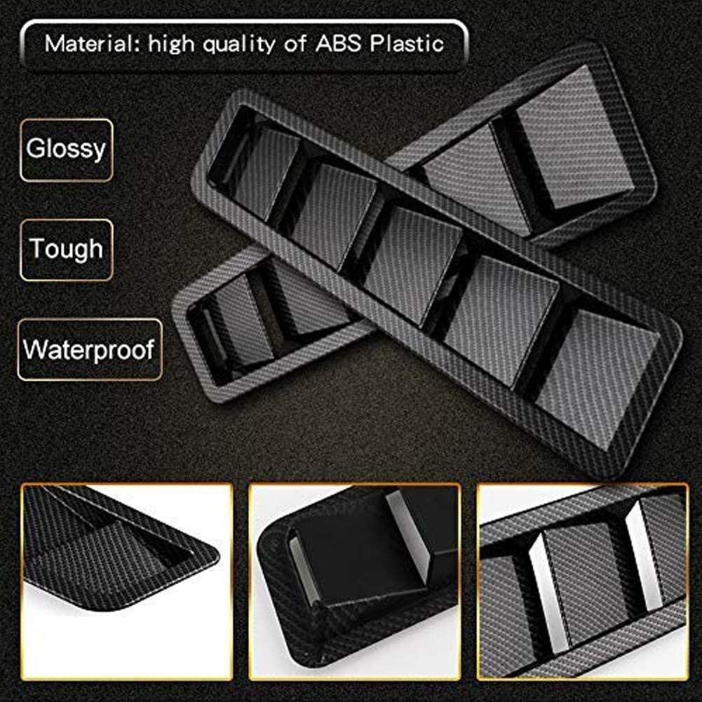 EIGIIS Car Hood Vent Scoop Kit Universal Cold Air Flow Intake Fitment Louvers Cooling Intakes Auto Hoods Vents Bonnet Cover