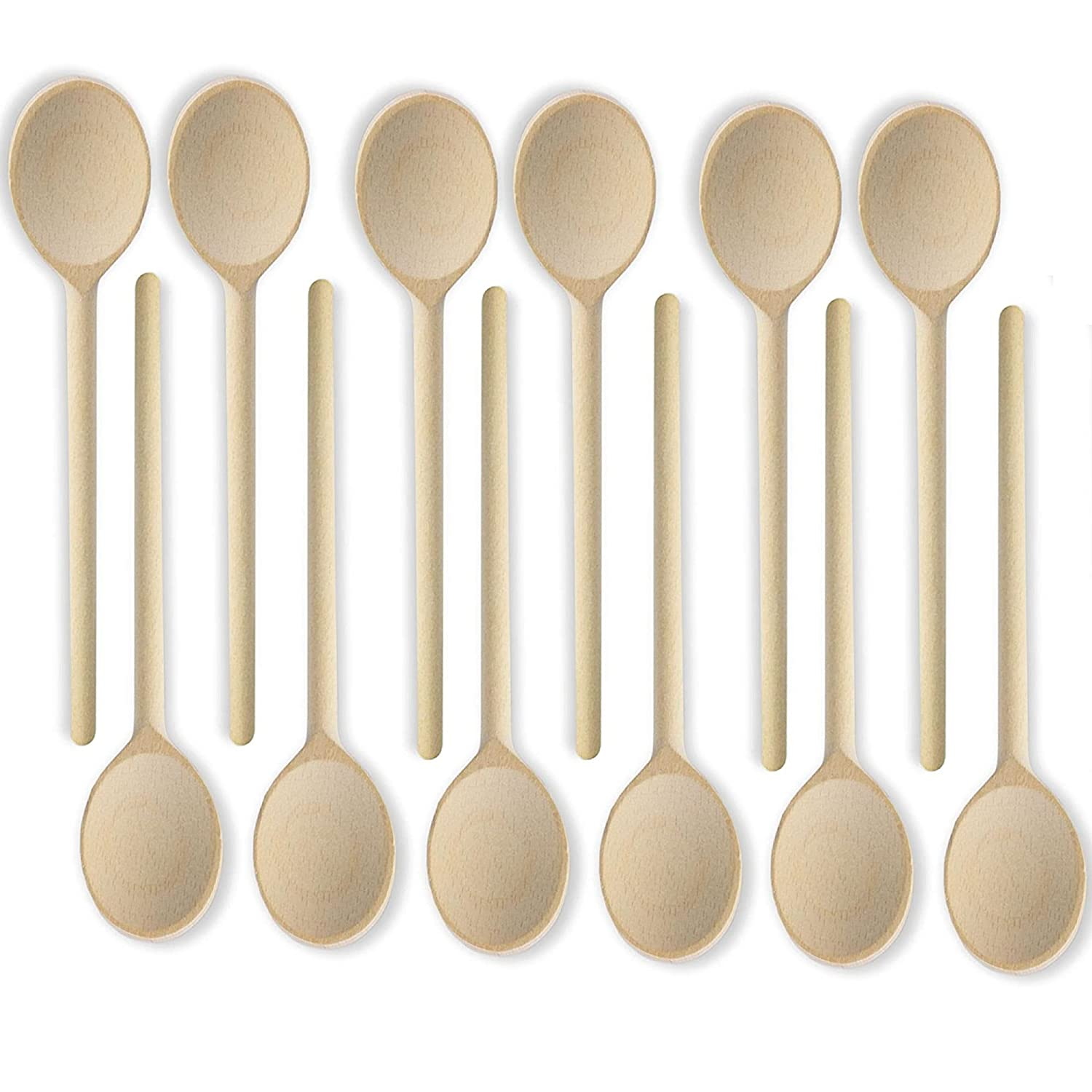 MR. WOODWARE 10- Inch Wooden Kitchen Spoons Baking Mixing Serving Utensils Bulk Spoon Puppets - Set of 12