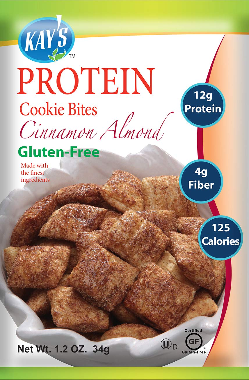 Kay's Naturals Protein Cookie Bites, Cinnamon Almond, Gluten-Free, Low Carbs, Low Fat, Diabetes Friendly, All Natural Flavorings, 1.2 Ounce (Pack of 60) by Kay's Naturals