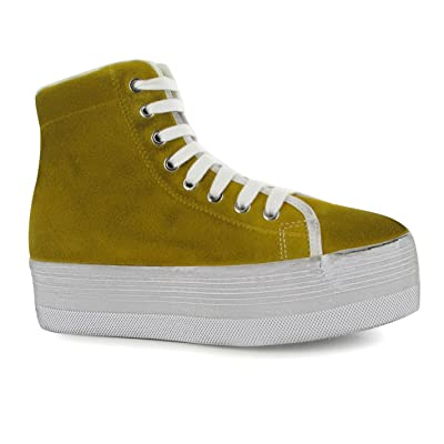 Jeffrey Campbell homg Hi Top Chaussures plateforme femme Moutarde/Blanc Baskets Sneakers