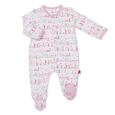 1bf478849 Magnificent Baby Magnetic Me Pink Globetrotter Modal Magnetic Footie (0-3M  (8-