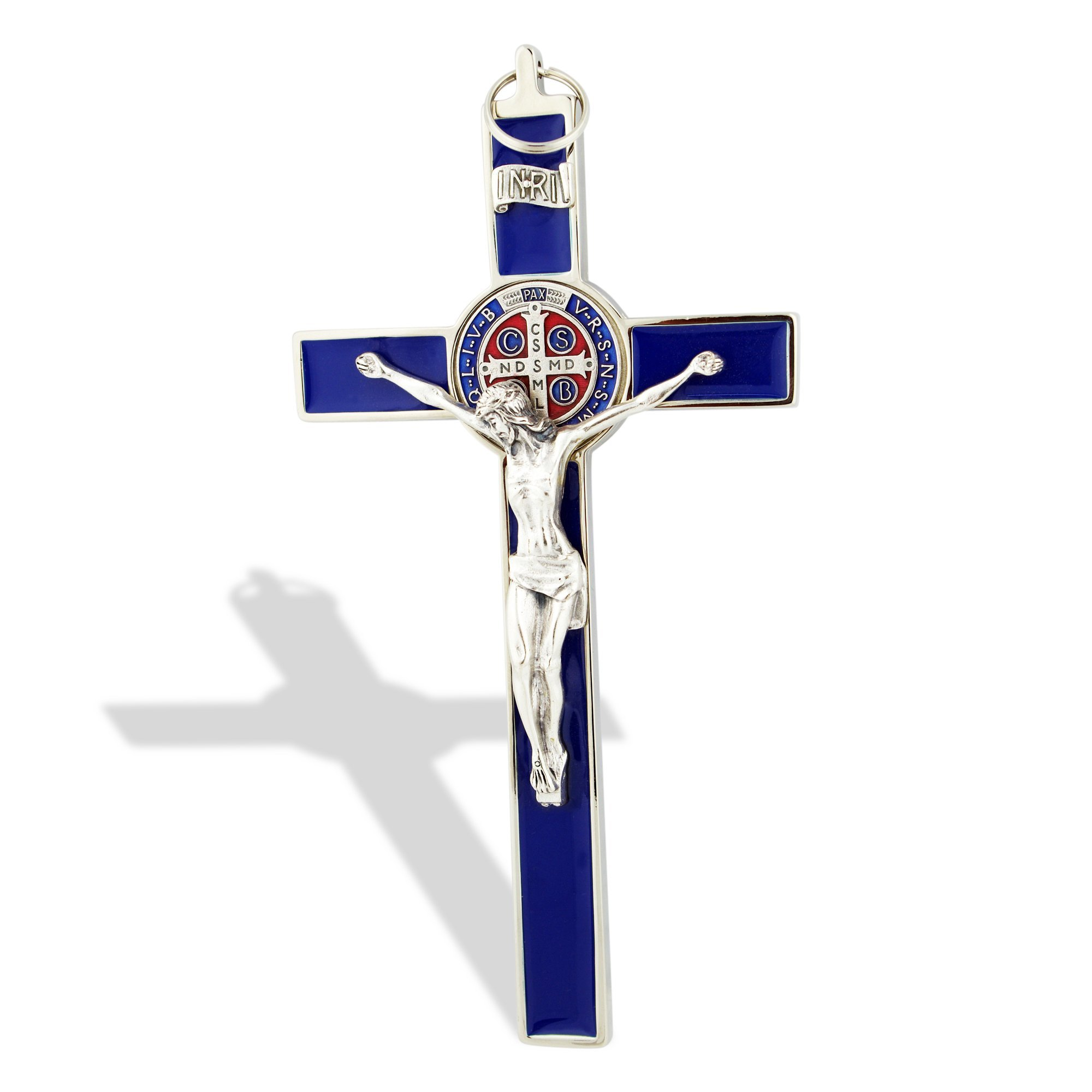 Saint Benedict Wall Crucifix with Colored Enamel (Silver-Blue)