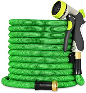 """Expandable Garden Hose - 100ft Lightweight Flexible Water Hose with 3/4"""" Heavy Duty Brass Connectors & Shut Off Valve - Extra Strength Fabric Cover with 8 Function Zinc Alloy Spray Nozzle (Green100FT)"""