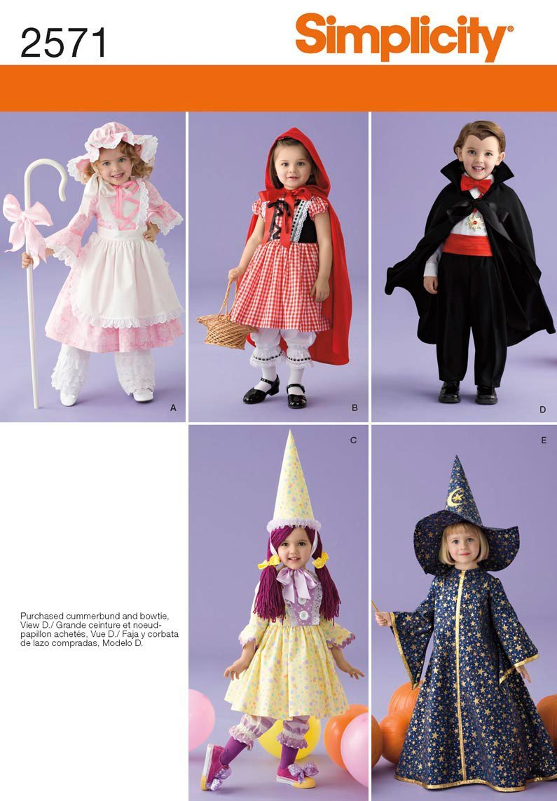 Amazon.com: Simplicity Sewing Pattern 2571 Toddler Costumes, A  (1/2-1-2-3-4): Arts, Crafts & Sewing