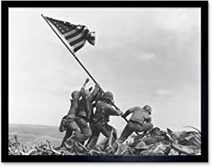 Rosenthal Raising Flag Iwo Jima Iconic WWII Photo Art Print Framed Poster Wall Decor 12x16 inch