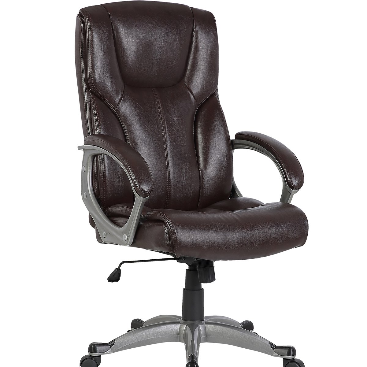 YAMASORO High Back Leather Office Chair - Adjustable Tilt Angle and Seat Height Executive Computer Desk Chair, Thick Padding For Comfort and Ergonomic Design For Lumbar Support, 300lbs