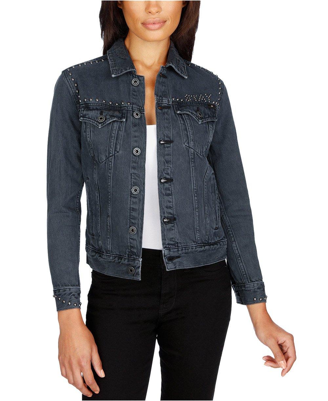 Lucky Brand Women's Studded Denim Jacket (Black, Small)