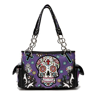 Amazon.com  Sugar Skull Purse with Concealed Carry Pocket Day of The Dead  Handbag 2491069922d85