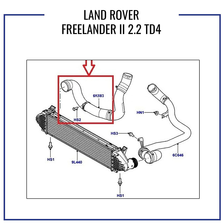 L A N D R O V E R FREELANDER II 2.2 TD4 MANICOTTO INTERCOOLER TUBO ARIA LR002589 6K683A LR000927 LR066429
