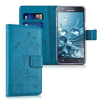 kwmobile Funda para Samsung Galaxy J5 (2015) - Carcasa de Cuero sintético con diseño de Flores y Mariposas - Case con Tarjetero