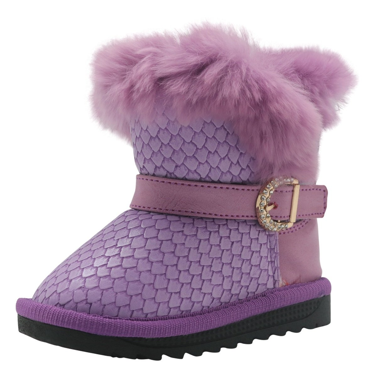 Non-Slip Toddler Shoes Girls Warm Winter Flat Shoes Snow Boots with Woolen Lining Durable Color : Purple , Size : 8 M US Toddler