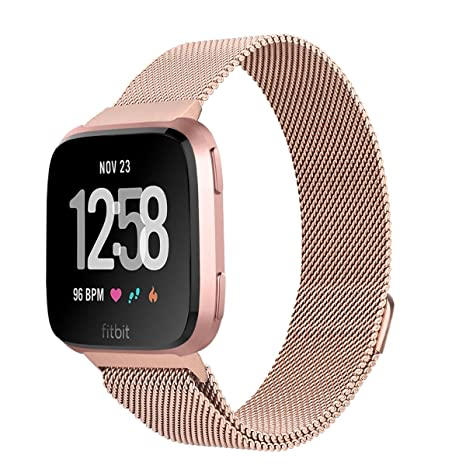 Amazon.com: For Fitbit Versa Bands, TOROTOP Milanese Loop Stainless Steel Metal Replacement Bracelet Strap Accessories Wristbands Silver Gold Rose Gold for ...