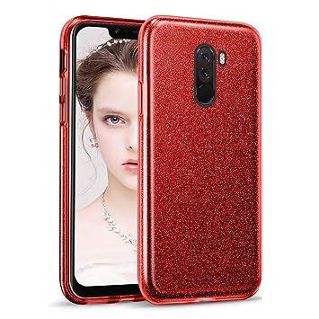 Coovertify Funda Purpurina Brillante Red Rose Xiaomi Pocophone F1, Carcasa roja Resistente de Gel Silicona con Brillo Rojo Rosa para Xiaomi Pocophone ...