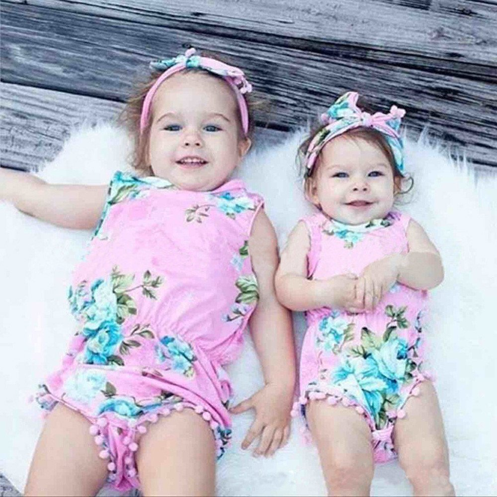 Sharemen Newborn Baby Girls Print Romper Headband Summer Bodysuit