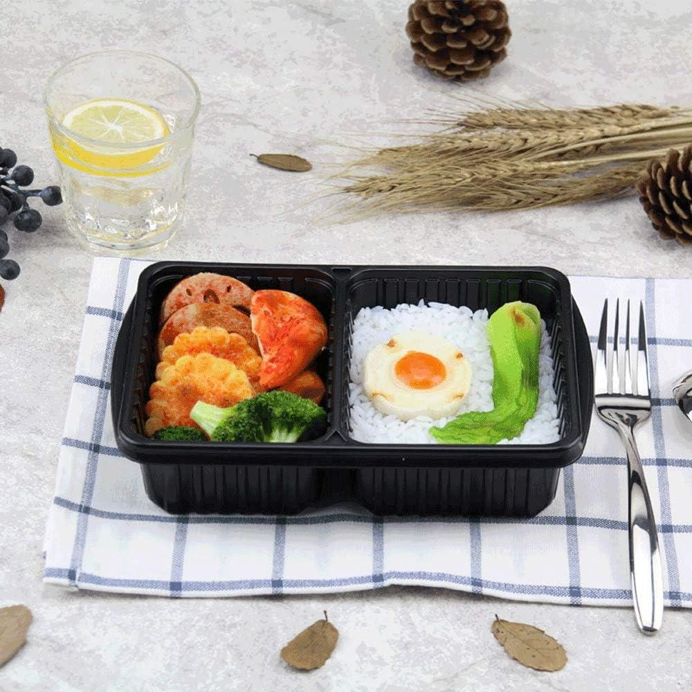 使い捨て高品質プラスチック2の間隔のお弁当箱 - 長方形の厚いスナックの大皿ライス食事パーティーピクニックバッグ[200パック] (Color : B)