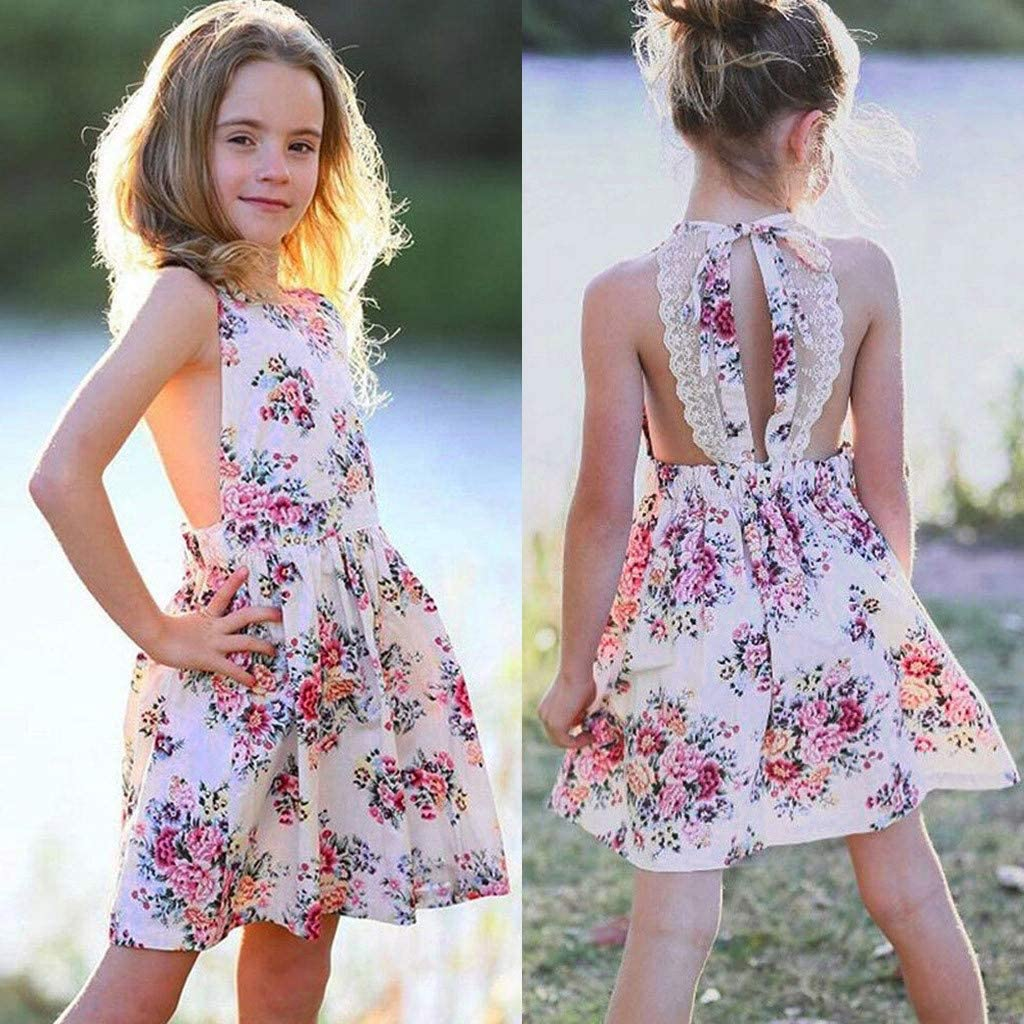 Efaster Toddler Baby Girl Dress Summer Sleeveless Floral Print Backless Lace Skirt Dresses 1-5 Years