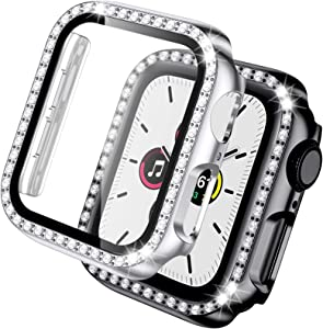 Akkerds Cases Compatible with Apple Watch 40mm Series 6/SE/5/4, 2 Pack Bling Crystal Diamonds PC Bumper & HD Tempered Glass Screen Protector Overall Protective Compatible for Women, Black/Silver