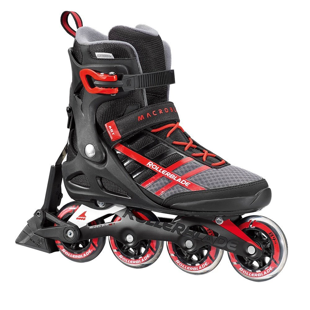 Rollerblade Macroblade 84 ABT New SG7 Bearings Aluminum Frame Inline Skates, Black/Red, US Men's 12 by Rollerblade