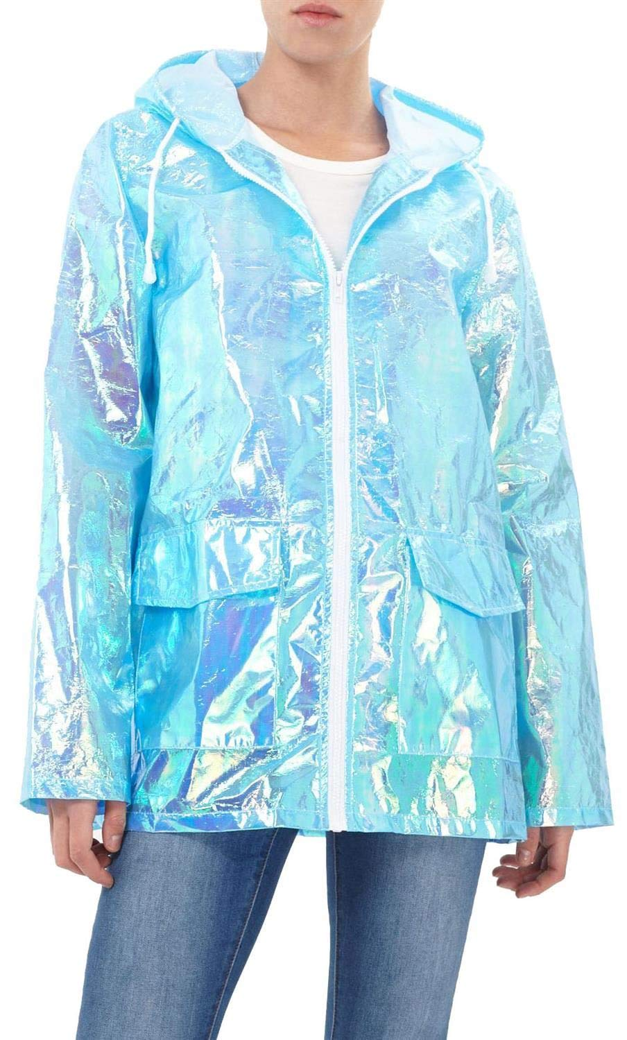 CHOCOLATE PICKLE Women's Holographic Hooded Lightweight Fluorescent Festival Kagool Raincoat Mac Jacket 8-14