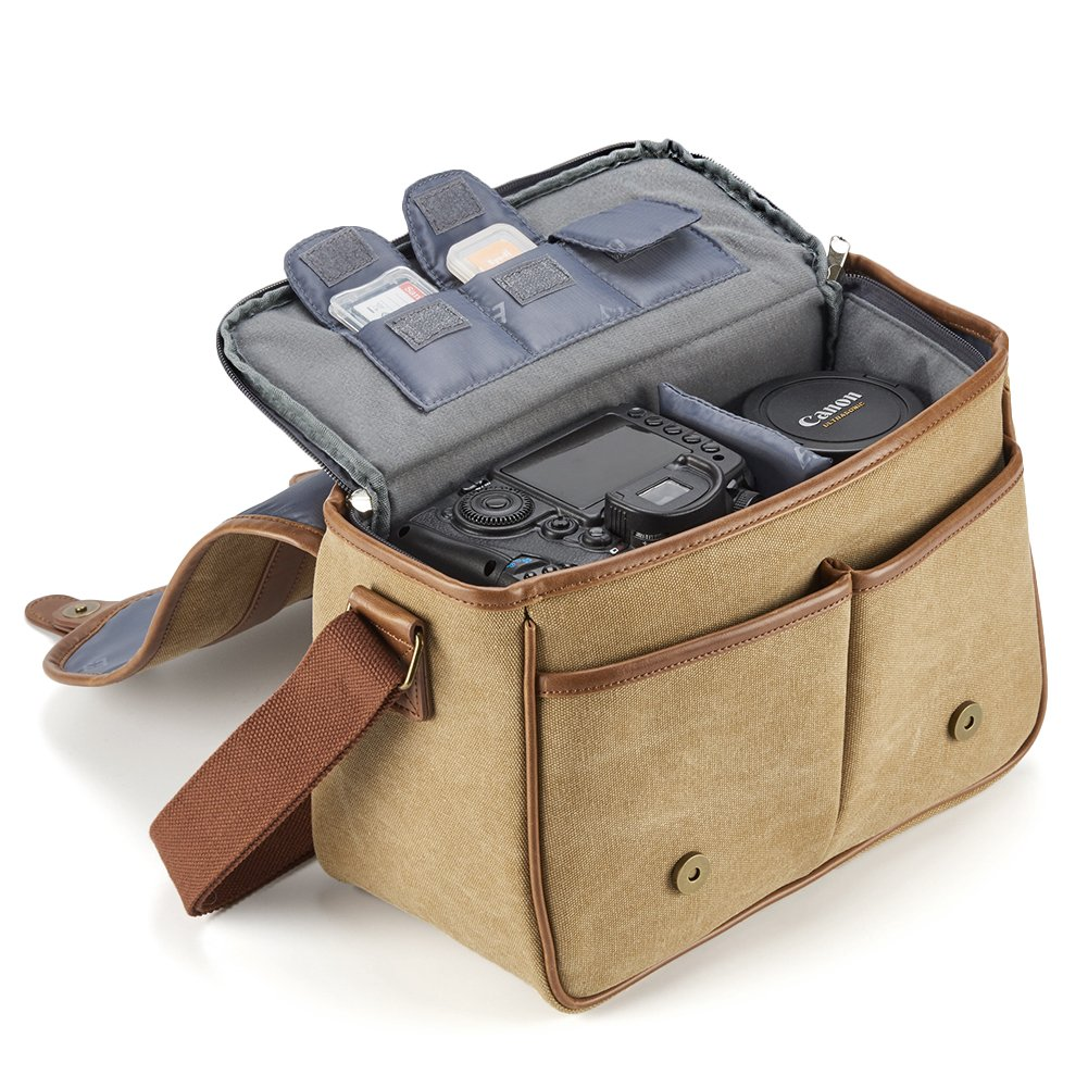 Micro 4//3 Evecase Large Canvas Messenger SLR//DSLR Shoulder Case with Leather Trim High Zoom Digital Camera Compact System Tablet Compartment and Removable Insert For Mirrorless Classic Camera Bag