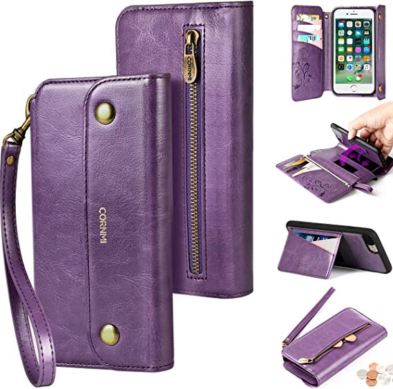 PHEZEN Case for iPhone 6S Plus,iPhone 6 Plus Wallet Case,Premium PU Leather Magnetic Flip Folio Protective Case Cover Multi-Function 9 Credit Card Holders with Zipper Coins Purse Cover,Hot Pink