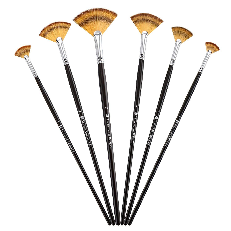fan di pennelli da artista morbido anti-shedding setole di nylon legno lungo manico pennelli per olio acrilico acquerello pittura 6/pz