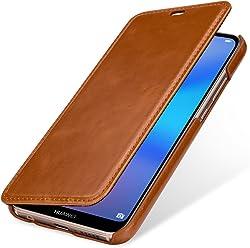 StilGut Book Type, Housse en Cuir pour Huawei P20 Lite. Etui de Protection en Cuir véritable pour Huawei P20 Lite à Ouverture latérale, Cognac