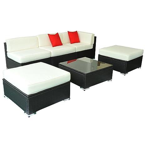 Deluxe Outdoor Rattan Garden Wicker 6 Piece Sofa Set Patio Sectional  Furniture