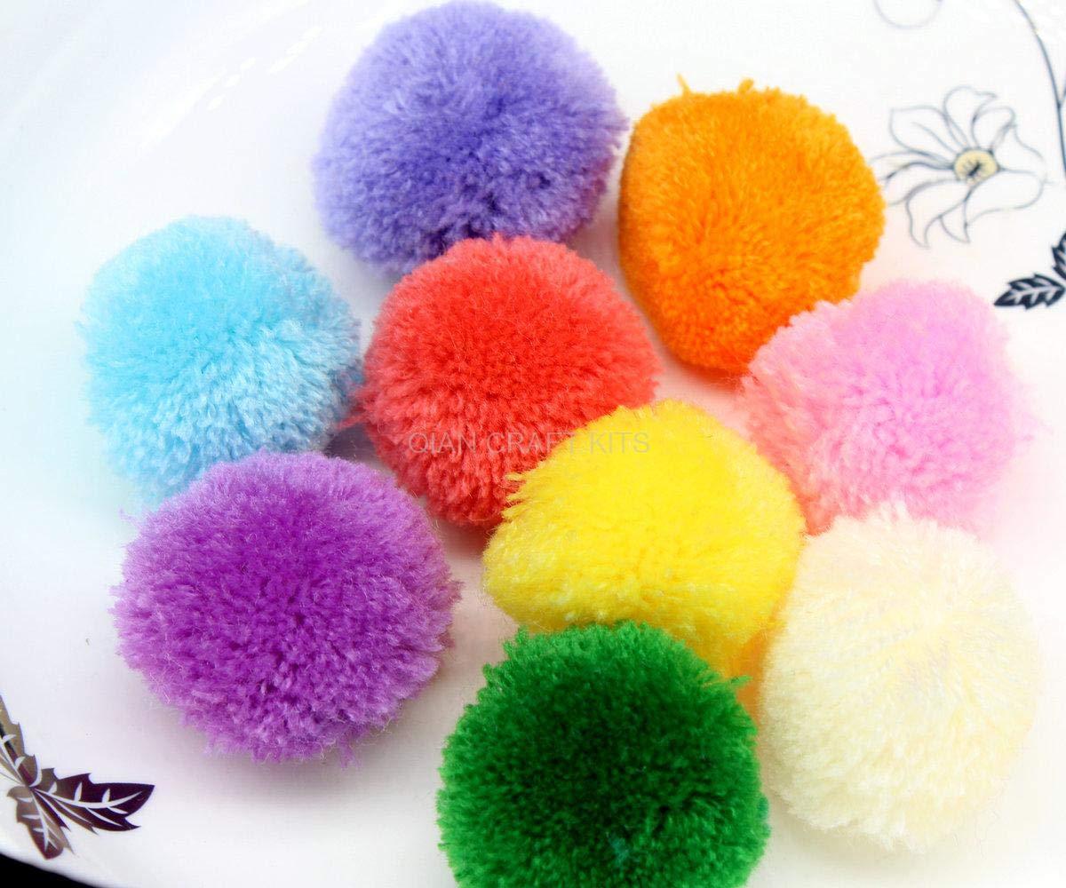 Pompom Yarn Balls 150pcs Approx 40mm Mix Color Pompom Yarn Pom for Decor Handmade Project Supply Garland Crochet Cotton Decor