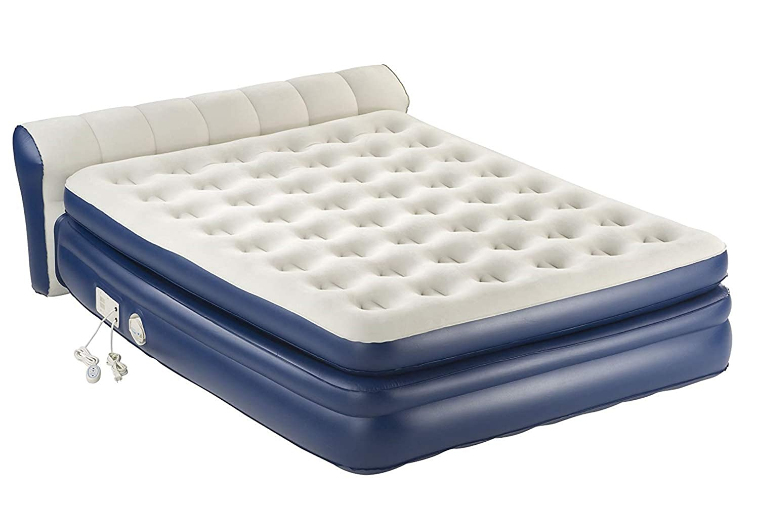 Air Mattress With Pump. This DuraBeam Ultra Plush Headboard Blow Up Airbed With Built In Electric Pump For Adults Indoor Or Outdoor Use. Raised Inflatable Bed Is Best As Camping Or Guest Bed Twin 31 Air-Mattress