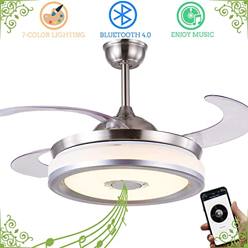 Retractable Ceiling Fan with Light and Bluetooth Speaker, Bluetooth Ceiling Fan Chandelier with Remote 7 Color Change 36W 42 Inch Silver