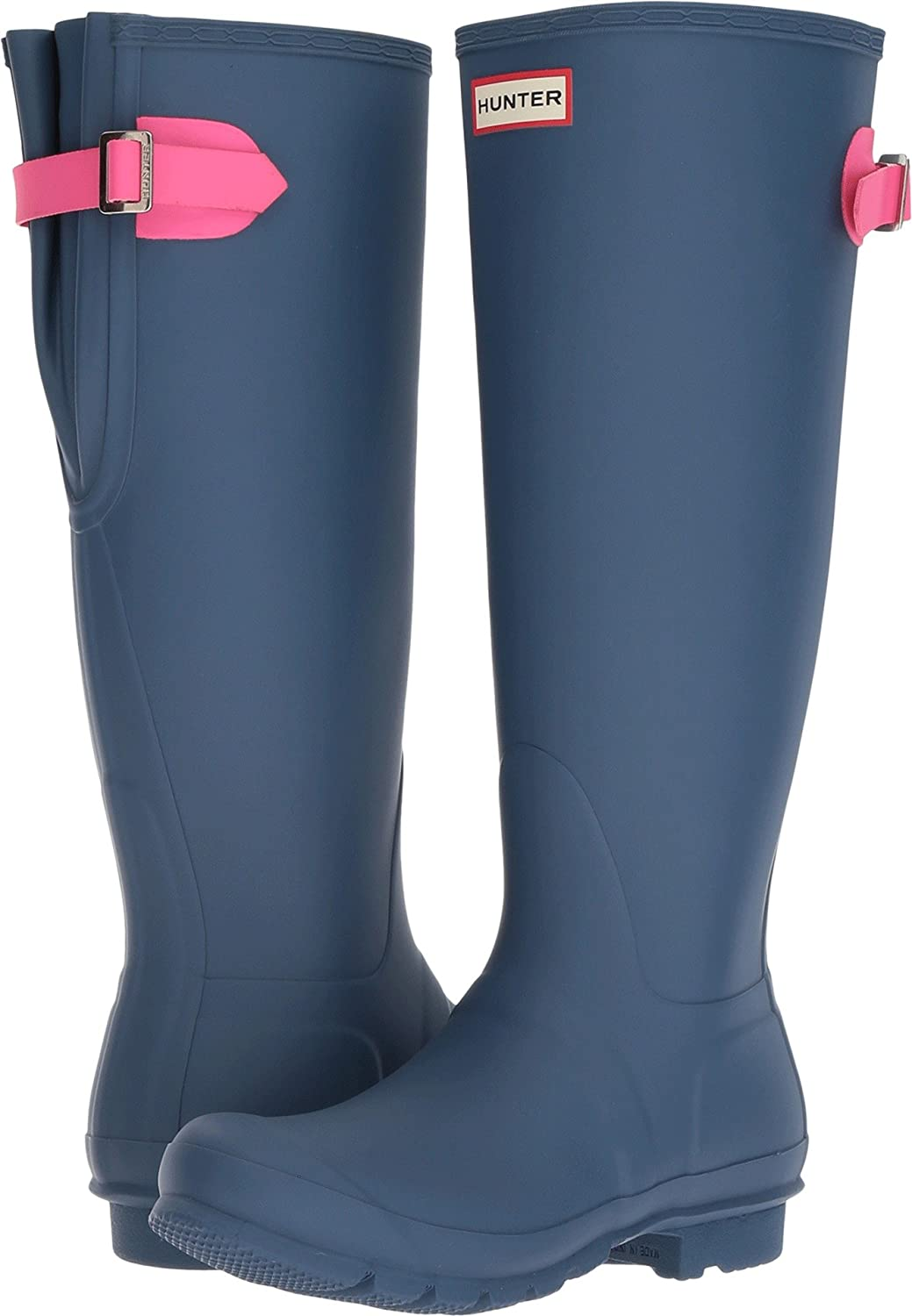 Hunter Womens Original Back Adjustable Rain Boots B06ZYKBTF3 7 B(M) US|Dark Earth Blue/Ion Pink
